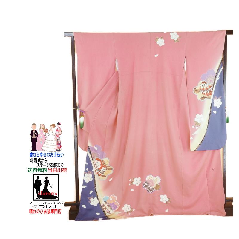フォーマル【送料無料】ふりそで 成人式 クラレナの ピンク クリーム色 紫 桜 手毬 正絹 中振袖(cl_kimono_2097)(中古)(USED)(リサイクル)【和装】【着物】【女性】【中振袖】
