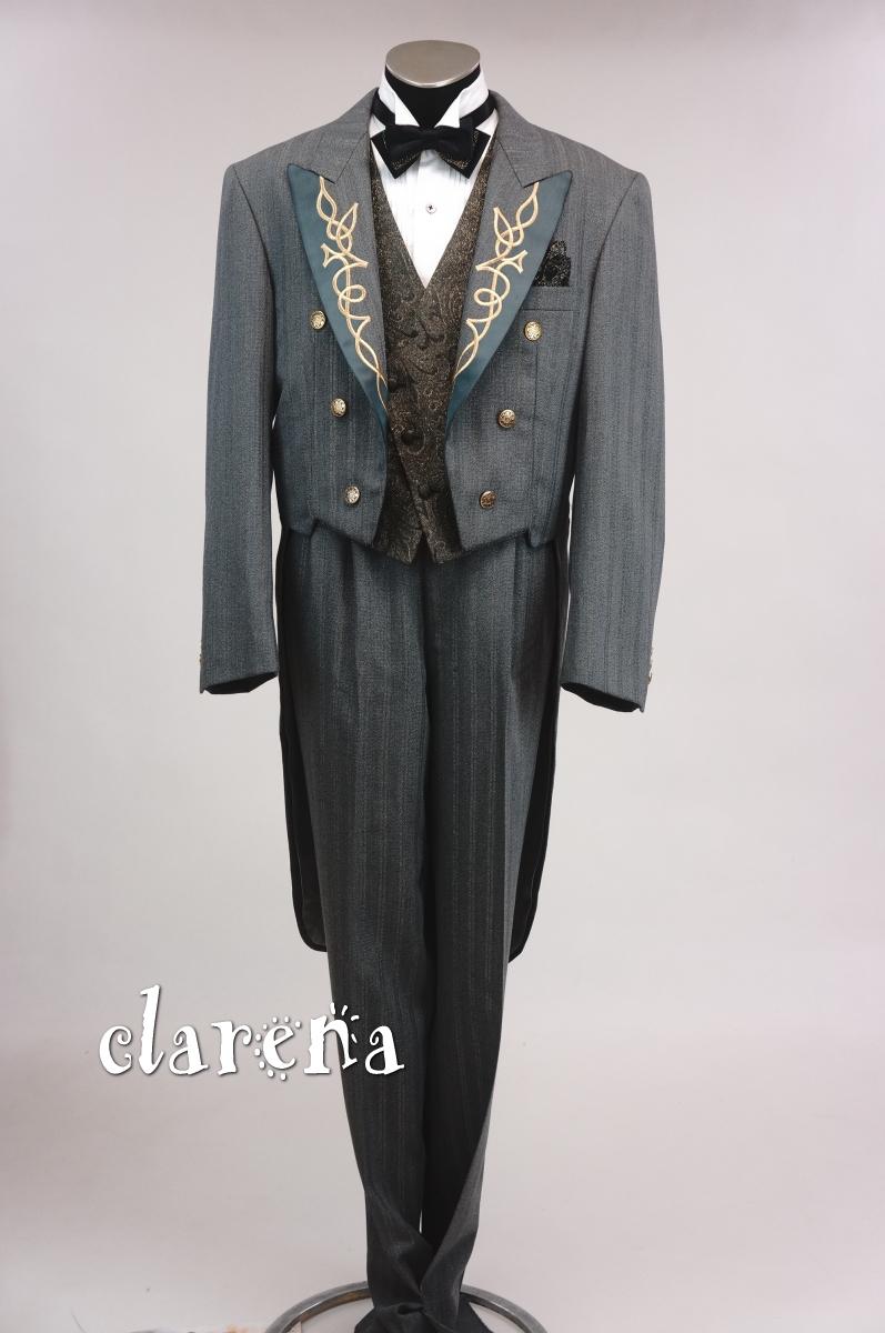 【送料無料】専用タイ付きグレーにゴールドライン・襟刺繍燕尾服 ALL.AL.AM(MMm576)(USED品)【中古】