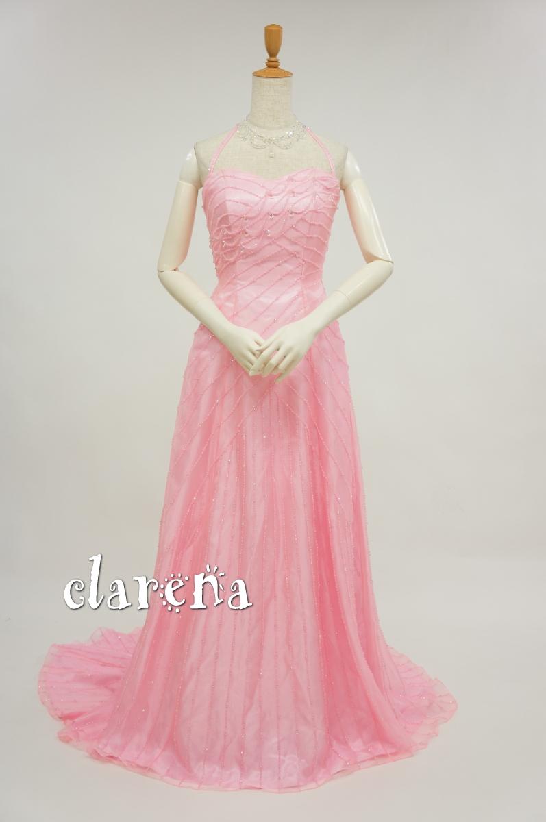 【送料無料】クラレナのピンクにビーズ カラードレス 5号(CLC2442)(USED品)【中古】リサイクル【洋装】【ドレス】【cd7】