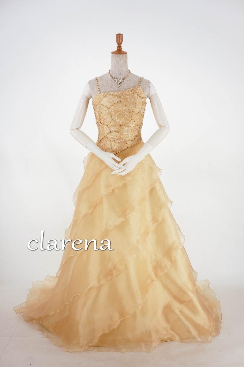 【送料無料】クラレナのゴールドティアード カラードレス9号(CLC3355)(USE品)【中古】リサイクル【洋装】【ドレス】【cd9】