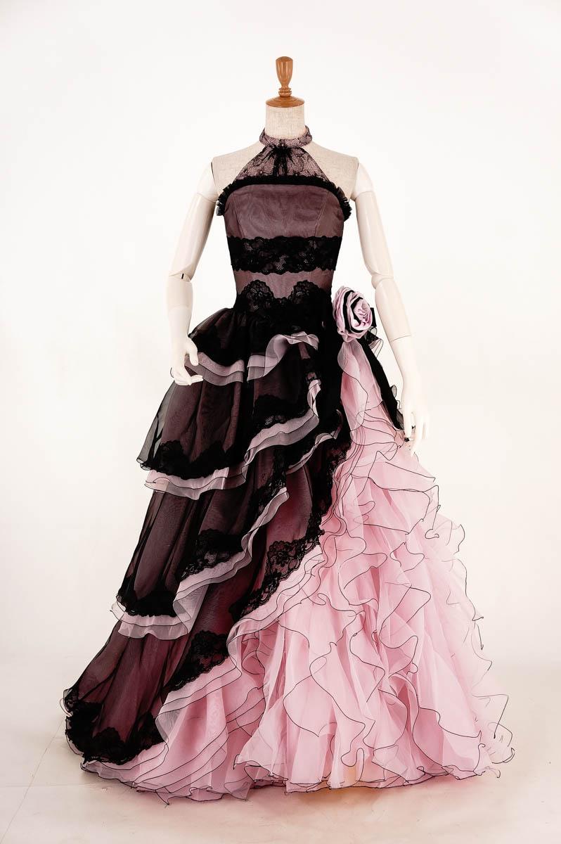 カラードレス 裾上げ加工済み薄ピンク×黒の段々フリルカラードレス 5号(CLC3378)【未使用品】[送料無料]中古ドレス