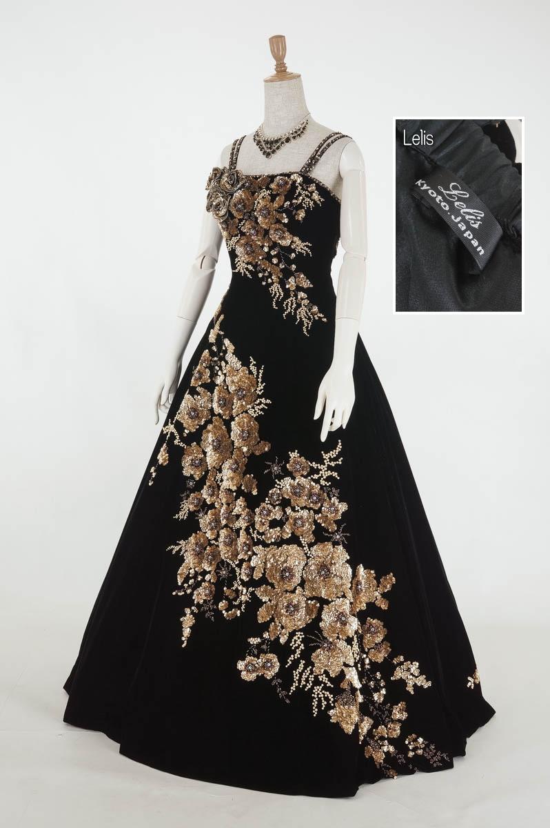裾上げ加工済み黒ベルベットにゴールドスパンコールの花々カラードレス11号(