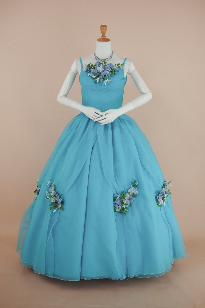 ロングドレス 演奏会 プリンセス[送料無料] ステージ 声楽裾上加工済 ターコイズブルーに花々・リボンカラードレス11号(CLC4084)【中古】