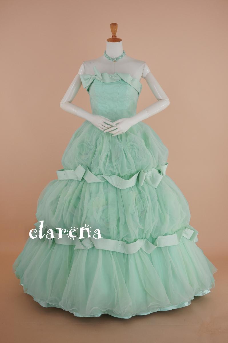 フォーマルクラレナのペールグリーンにリボンと花々カラードレス 13号(CLC4089)【中古】USED(リサイクル)【洋装】【ドレス】【cd13】