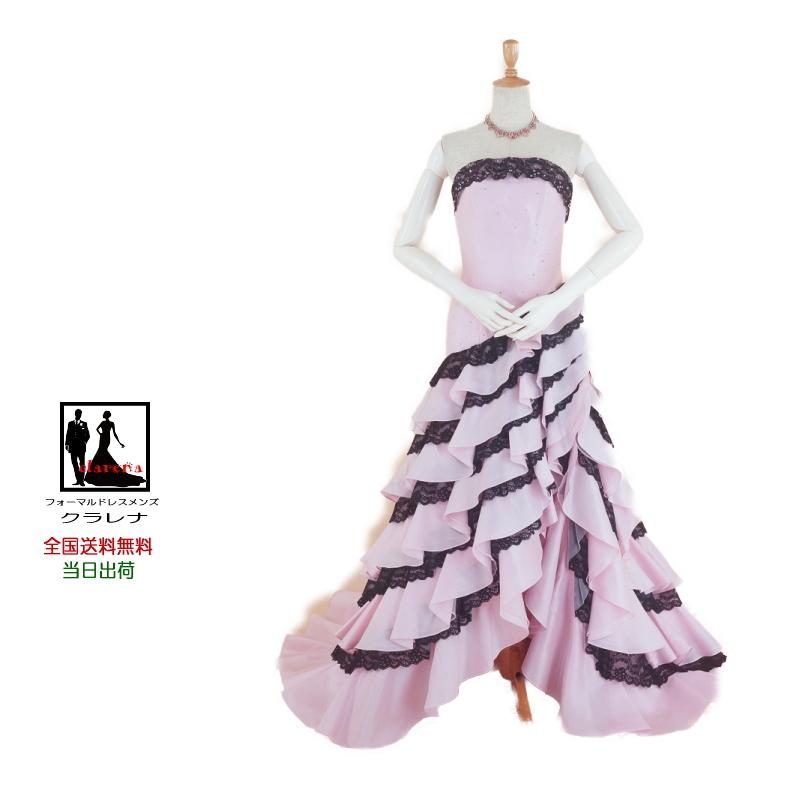【送料無料】結婚式ドレス ネックレス・イヤリング付き クラレナの ピンクに黒レースマーメイド カラードレス7号(CLC4383)【中古】(USED品)(リサイクル)【洋装】【ドレス】【cd7】【cd9】