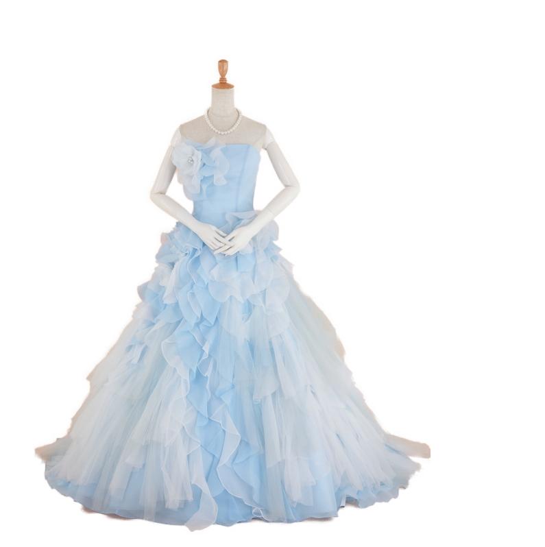 【送料無料】ロングドレス ネックレス・イヤリング付き クラレナの 水色と白カラードレス9号(CLC4385)【中古】(USED品)(リサイクル)【洋装】【ドレス】【cd9】【cd11】