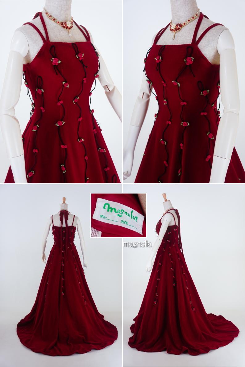 187d0262ddce5 楽天市場  送料無料 濃赤ベルベットにミニバラカラードレス11号 ...