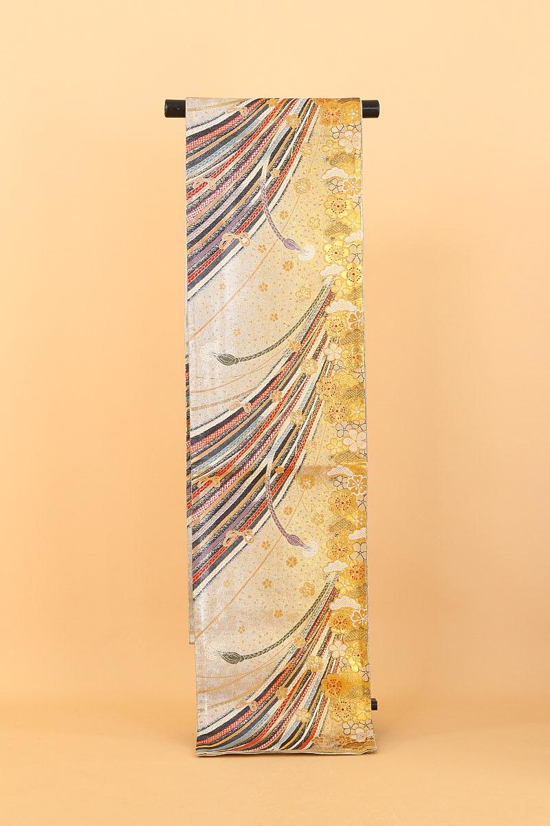 [送料無料]金銀に多種組紐と梅・笠松正絹袋帯(MS558)(USED品)【中古】