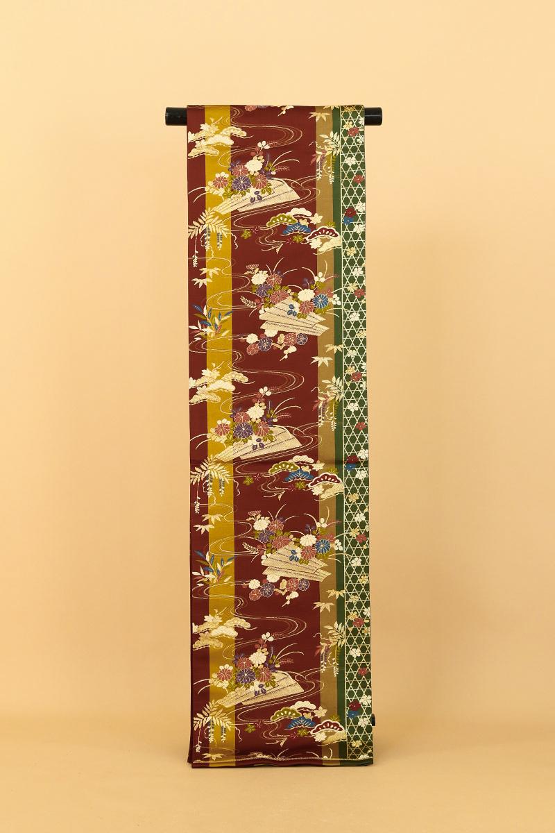 [送料無料]茶色+金茶+深緑に花いかだ正絹袋帯(MS560)(USED品)【中古】【和装】【着物】【女性】【帯】