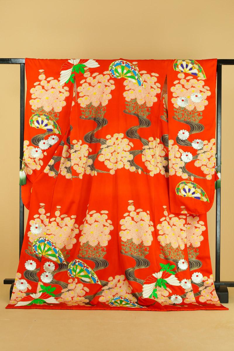 【送料無料】花嫁振袖 引き振袖 クラレナの濃オレンジに菊・流水・片輪車 正絹 本振袖(MS582)(USED品)【中古】(リサイクル)【和装】【着物】【女性】【本振袖】