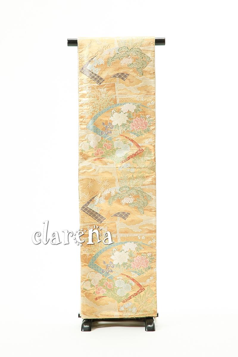 【送料無料】 金に華やぎある地紙正絹袋帯 (MS54)(USED品)【中古】