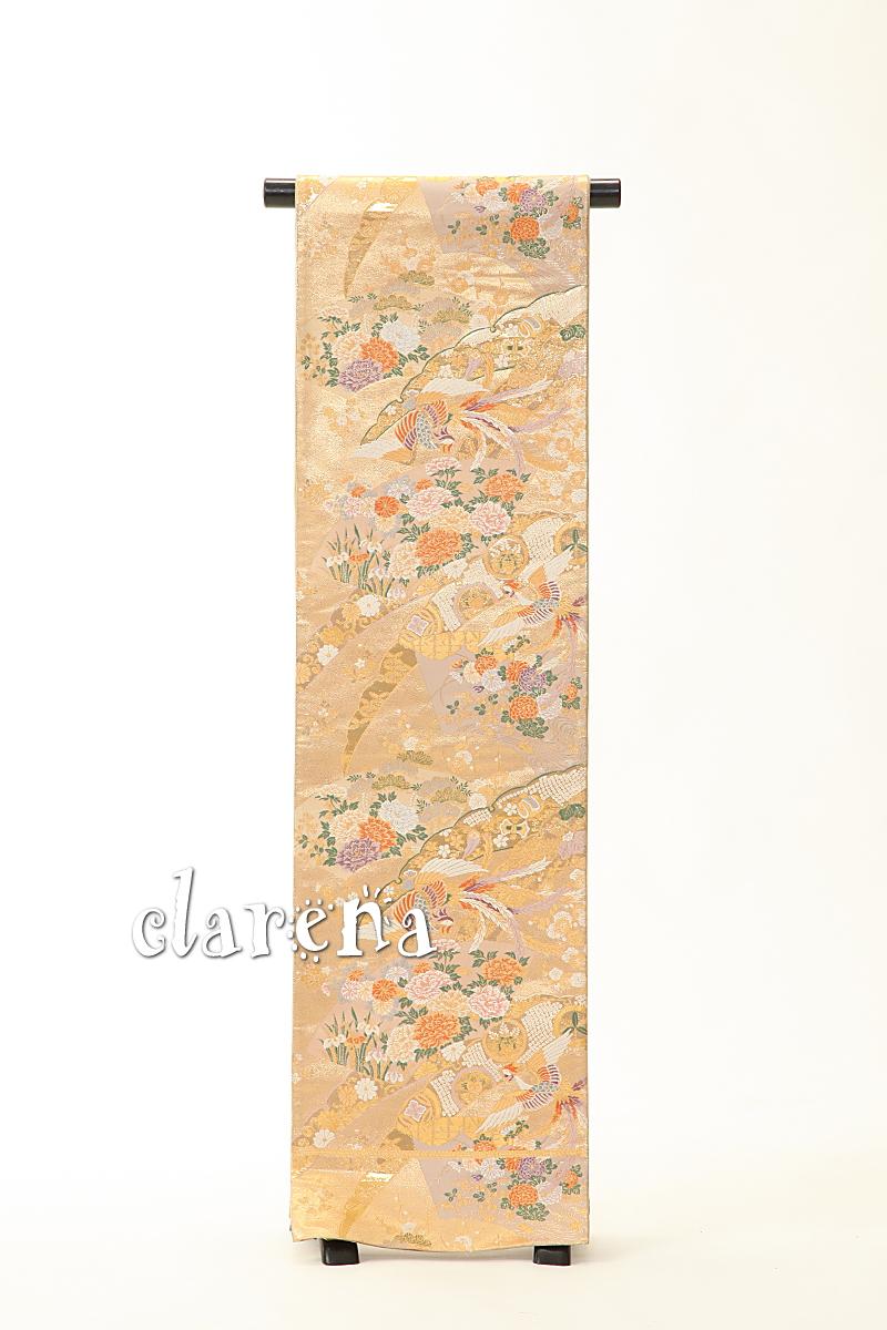 【送料無料】金に地紙・鳳凰・雪輪正絹袋帯 (MS87)(リサイクル)【中古】【和装】【着物】【女性】【帯】