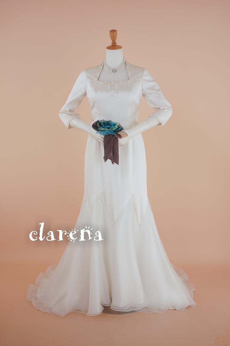 [送料無料] 結婚式 ステージ衣装 声楽アイボリーシルクにビーズ 七分袖 ウエディングドレス 11号(CLW1020)【中古】(USED品)(リサイクル)中古ドレス【洋装】【ドレス】【wd11】