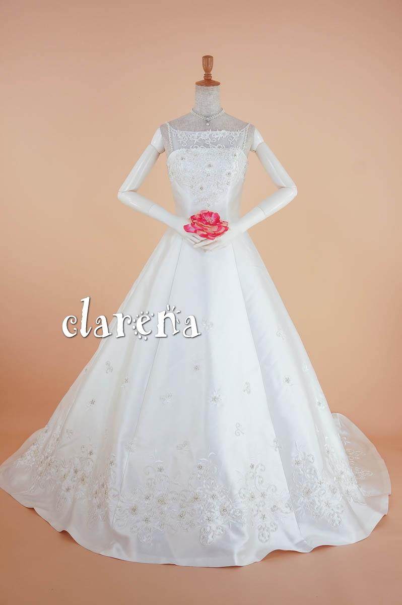 ウエディングドレス [送料無料]オフホワイトに花装飾 ロングトレーン ウェディングドレス 11号(CLW981)(USED品)(リサイクル)【中古】中古ドレス