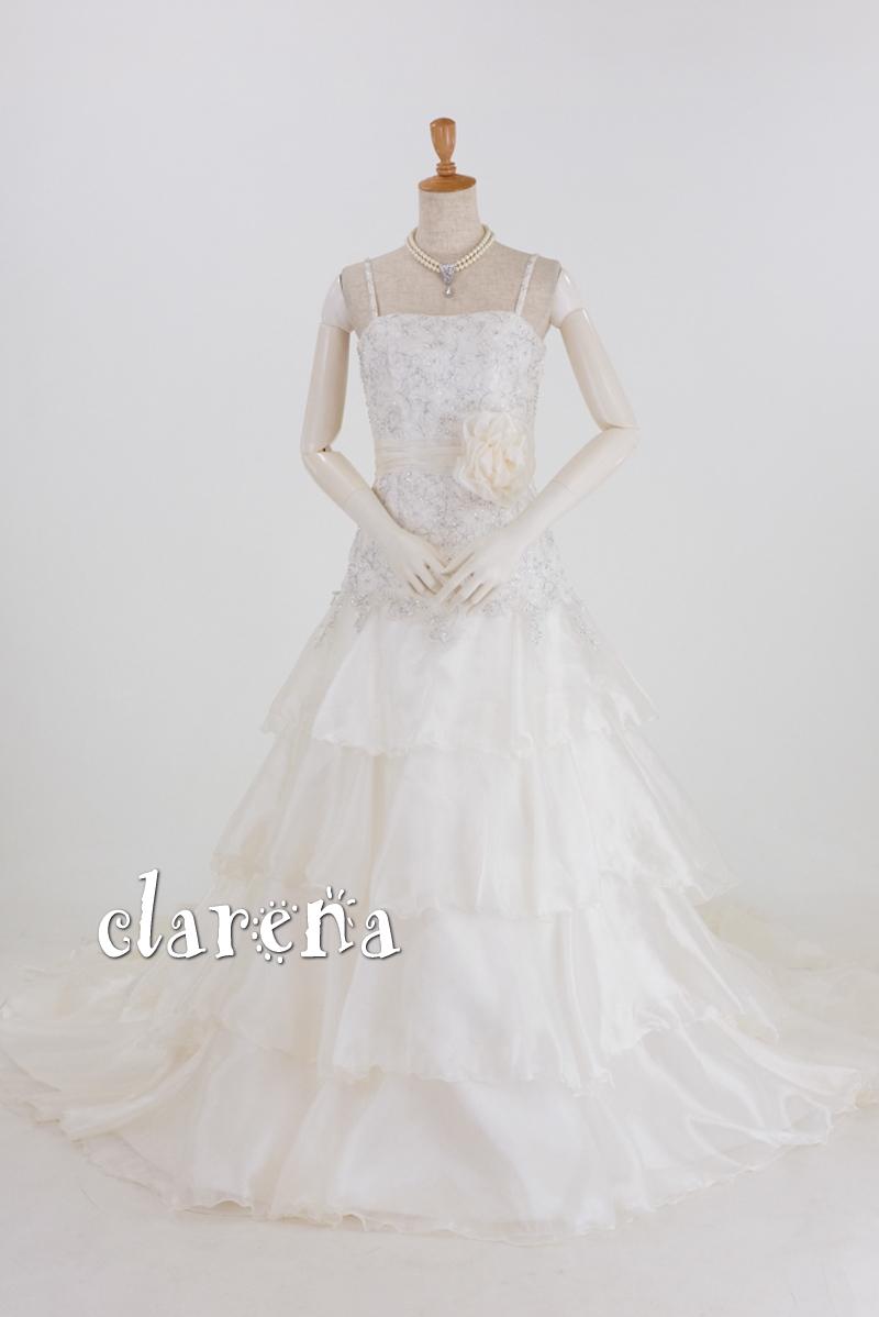 【送料無料】シャンパンホワイトに 美しいバラ装飾ウェディングドレス7号(CLW933)(USED品)(リサイクル)【中古】中古ドレス【洋装】【ドレス】【wd7】