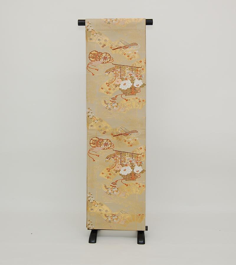 【送料無料】 サンドブラウンに几帳・楽器正絹袋帯 (ka335)(USED品)【中古】