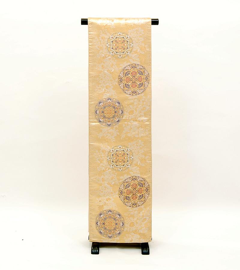 【送料無料】リサイクル帯 金に花喰鳥文正絹袋帯 (ka332)(USED品)【中古】