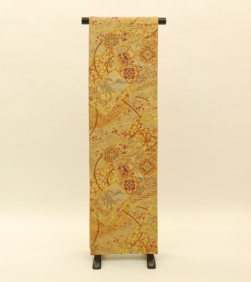 【送料無料】金・金茶に色紙・華文・組紐正絹袋帯 (KA441)(USED品)【中古】