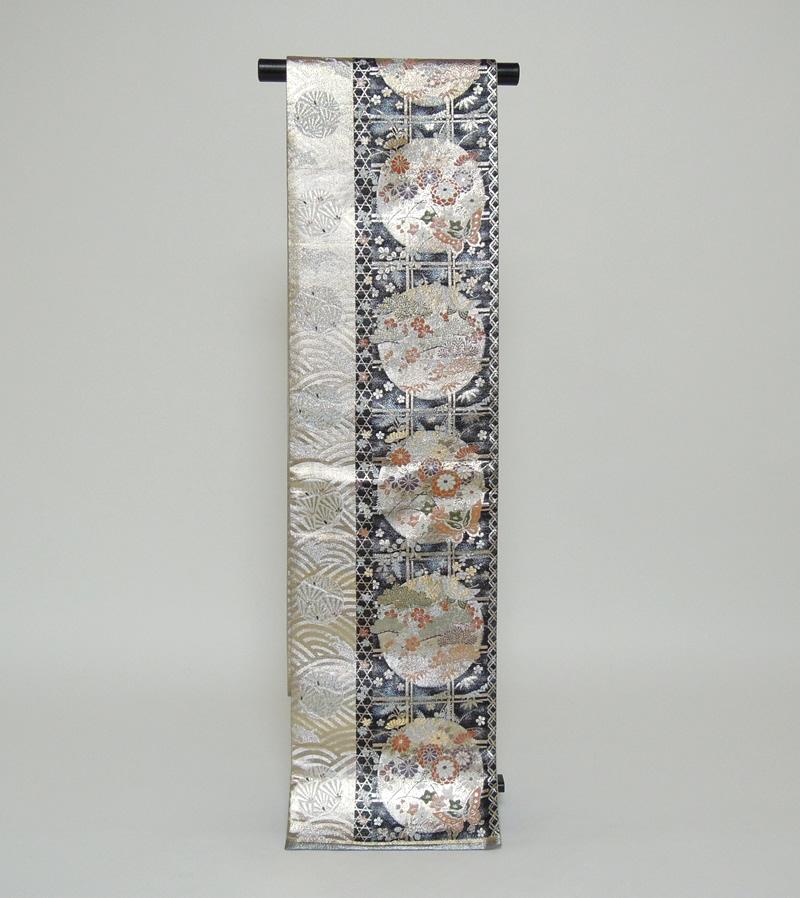 【送料無料】リサイクル帯黒と金銀に花丸文正絹袋帯 (ka048)(USED品)【中古】