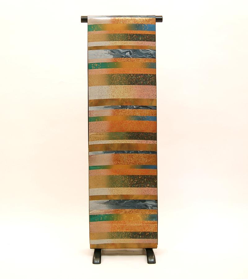 【送料無料】金・墨色・深緑等の縞 正絹袋帯 (KA527)(USED品)【中古】