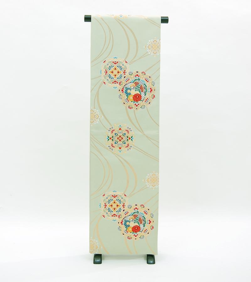 帯【送料無料】リサイクル薄緑に金の曲線・正倉院文正絹袋帯 (ka531)(USED品)【中古】