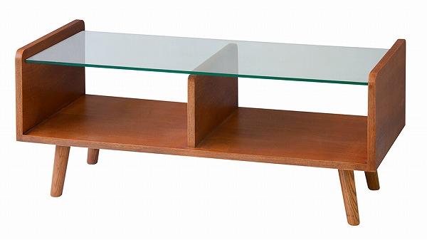 【メーカー直送】 シンプル センターテーブル ローテーブル 強化ガラス天板 収納棚付き ブラウン 天然木