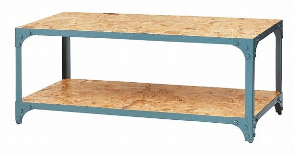 【メーカー直送】 マルチ センターテーブル ローテーブル スチールフレーム 収納棚 アジャスター付き グリーン