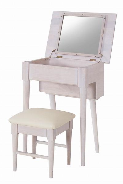 【メーカー直送】 ドレッサースツール 椅子 イスセット 木製 鏡台 ホワイト 飛散防止ミラー 天然木