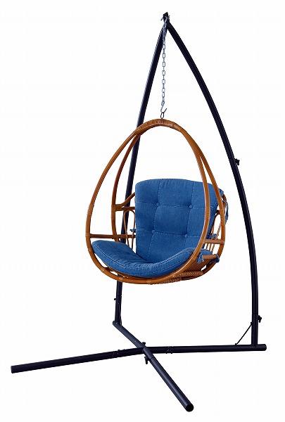 【メーカー直送】 ハンギングチェア 椅子 イス 揺り椅子 ラタン デニム