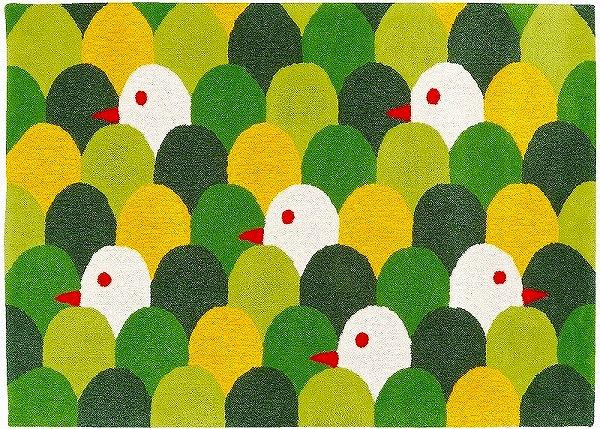 【メーカー直送】 1407-155 Prevell ラグ カーペット マット moritori グリーン 約140×200cm