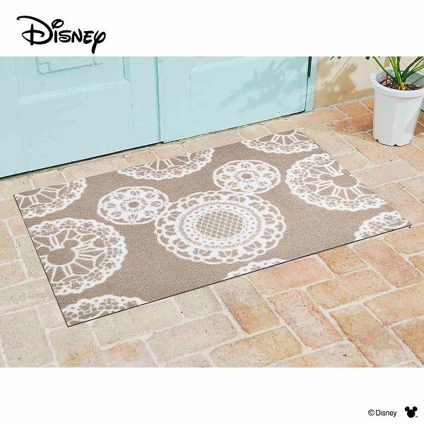 【メーカー直送】 Disney Mat Collection ディズニー 玄関マット Mickey ミッキー レース グレージュ 75×120cm 洗える 滑り止め BK00021 クリーンテックス