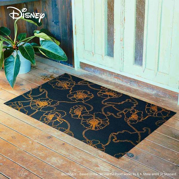 【メーカー直送】 Disney Mat Collection ディズニー 玄関マット Phoo くまのプーさん アネモネ ブラック 75×120cm 洗える 滑り止め BK00041 クリーンテックス