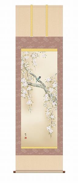 送料無料 掛け軸 表装 日本製 印刷 和風 和室 縁起物 三幸 KZ2A2-085 販売 床の間 幅54.5×高さ約164cm 掛軸 森山観月 桜花に小鳥 モダン メーカー直送 尺五 納期は約7~10日前後です