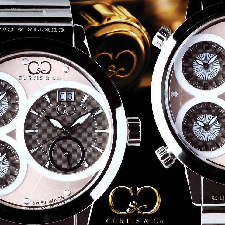 CURTIS&Co.最新モデル世界限定999本!正規販売店(カーティス,腕時計)BIG Time WORLD 57mm 4Time zoneビッグタイムワールドメタル・シルバーローズゴールド [SW4RG-S]クレジット24回払いなら、お支払いが楽々!月々約 15,500円!