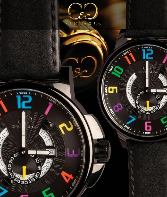 腕時計 メンズ 男性腕時計CURTIS&Co.正規販売店(カーティス,腕時計) BIG Time HAPPY HOUR 黒 Case/黒ビッグタイムクール [HHBK/CN-B]ガガミラノ GaGa MILANOの次はコレ!クレジット24回払いなら、お支払いが楽々!月々約 8,500円!