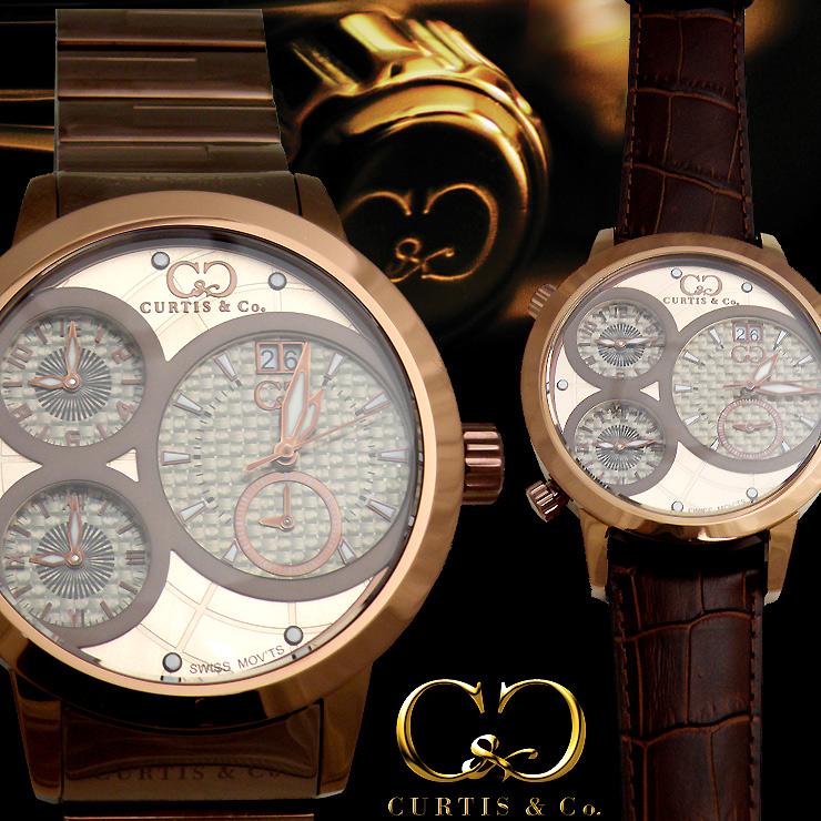 CURTIS&Co.最新モデル世界限定999本!正規販売店(カーティス,腕時計)BIG Time WORLD 57mm 4Time zoneビッグタイムワールドメタル・ローズゴールド [SW4RG-BR]クレジット24回払いなら、お支払いが楽々!月々約 17,500円!