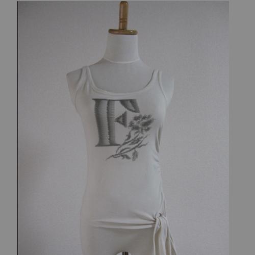 古着色加工されたノースリーブ 胸元はラメプリントされ 左下にはギャザーとリボンがポイント 中古 FRAGILE ランキングTOP10 送料無料 ラメプリントTシャツ ☆新作入荷☆新品