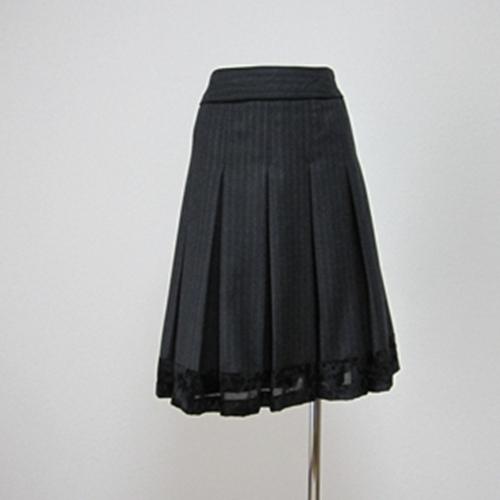 【中古】 COMME CA DU MODE タック入りストライプスカート