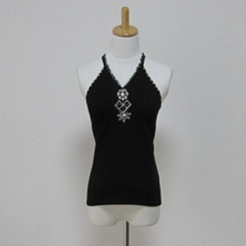 タイムセール 衿際にシフォンのフリルと胸元にビーズ刺繍があり とても上品です 左胸元にはちょっと毛玉があります ビーズ刺繍入りキャミソール Blu 1年保証 Viaggio