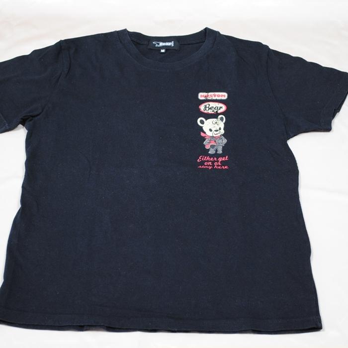 USA BEAR 黒 クルーネック半袖T-シャツ 背中のBEARプリントも豊の表情で演出してくれる [ギフト/プレゼント/ご褒美] 中古 ^ オープニング 大放出セール 左胸のロゴプリントが可愛い