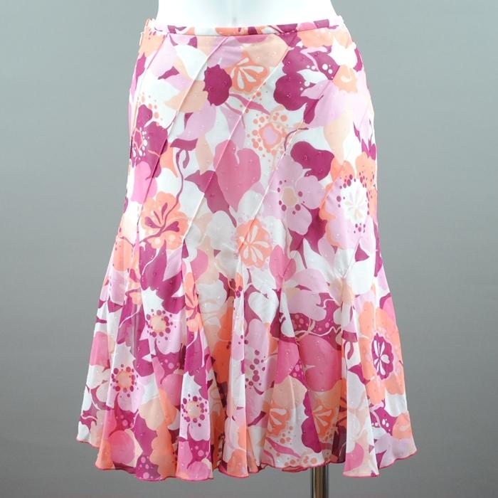 鮮やかなフラワープリントを 品良くCUTEなタックフレアのスカートに仕上げました 履くだけでロマンティックな印象を演出 出群 再再販 G-ジャン等ショート丈トップスで軽やかに着こなせる MICHEL フラワープリント KLEIN ギャザーフレアスカート pink