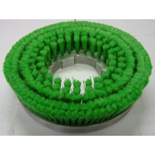 ムサシ カーペット用メタルバックナイロンブラシ緑 14インチ(緑先割れ・プレート付き) 【業務用 絨毯用 ジュウタン用 ポリッシャー】
