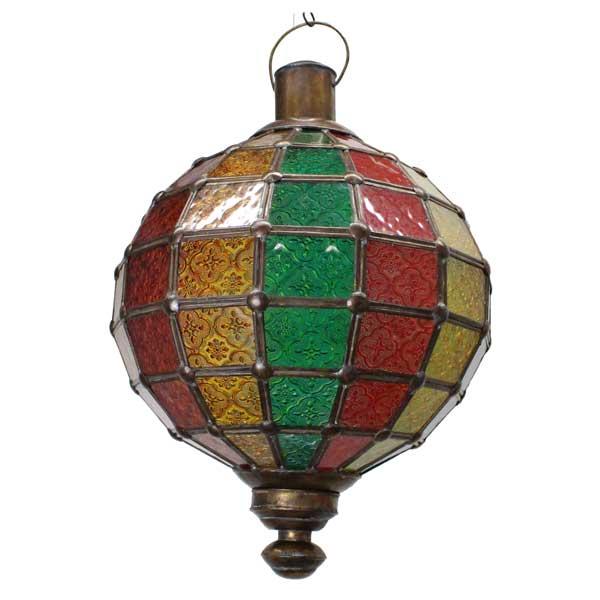 gt505-2ガラスラウンドシェード / つり下げ用ライト アンティーク モロッコ インドネシア アジア ステンドグラス 照明