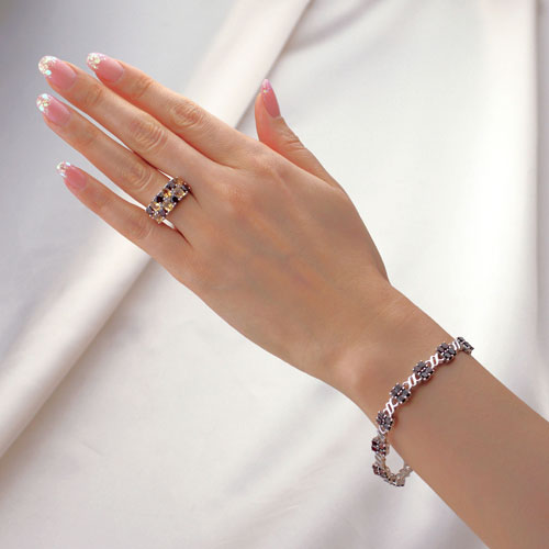 Bracelet Ladys Garnet Amp Ring Set Gift Woman Birthday Present Girlfriend Wedding Anniversary