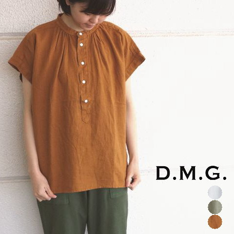 D.M.G ドミンゴ  バンドカラーフレンチスリーブリネンシャツ プルオーバーブラウス レディース