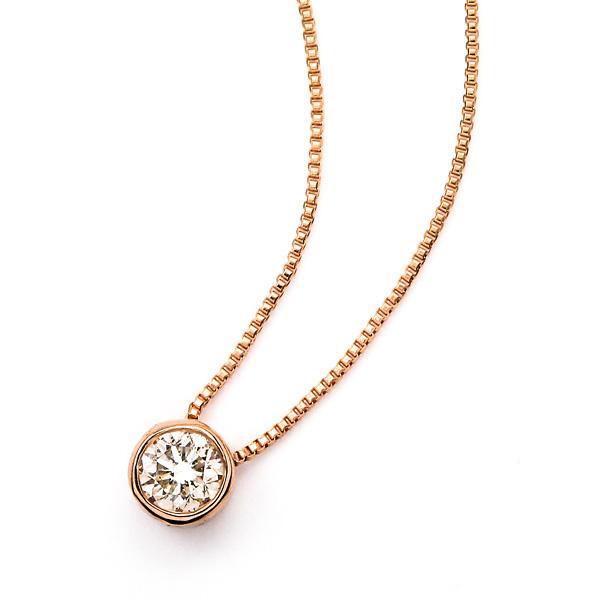 【送料無料】 ネックレス レディース シンプル 一粒 ダイヤモンド 0.15ct ブリリアントカット K18ピンクゴールド P20Aug16