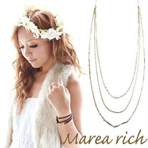 送料無料 マレア リッチ Marea rich Triple Necklace K10 3連ネックレス ゴールド 10KJ-28