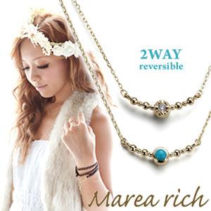 送料無料 マレア リッチ Marea rich Hawaiian series K10 ハワイアンモチーフ ネックレス 2WAY リバーシブル ゴールド×ダイヤモンド/ターコイズ 11KJ-08 P20Aug16