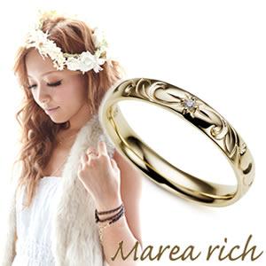 送料無料 マレア リッチ Marea rich Hawaiian series K10 ハワイアンモチーフ リング ゴールド×ダイヤモンド 10号 11KJ-06
