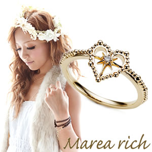 送料無料 マレア リッチ Marea rich Hawaiian series K10 ハワイアン ハートモチーフ リング ゴールド×ダイヤモンド 10号 11KJ-13 P20Aug16